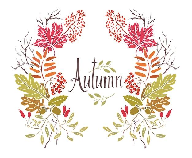 Autumn frame von blättern und zweigen Kostenlosen Vektoren