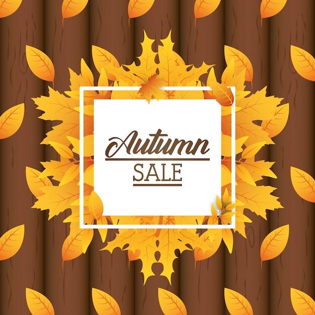 Autumn sale square label Premium Vektoren