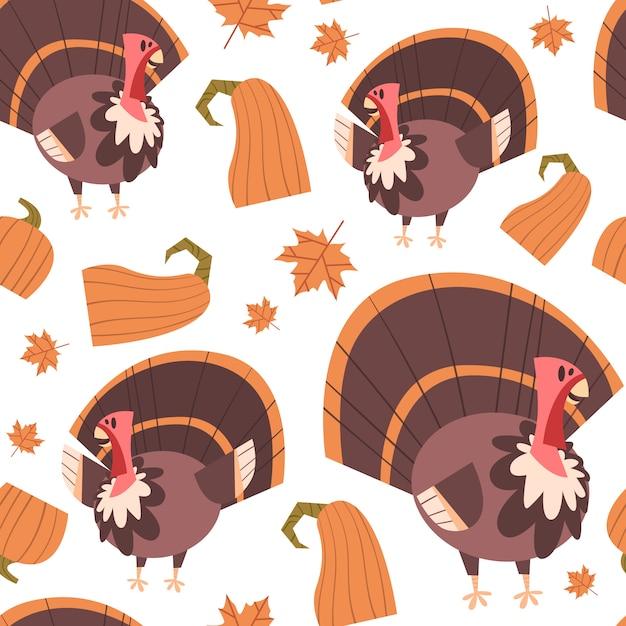 Autumn seamless pattern-glückliche erntedank-tageskonzept-traditionelle verzierung mit der türkei Premium Vektoren