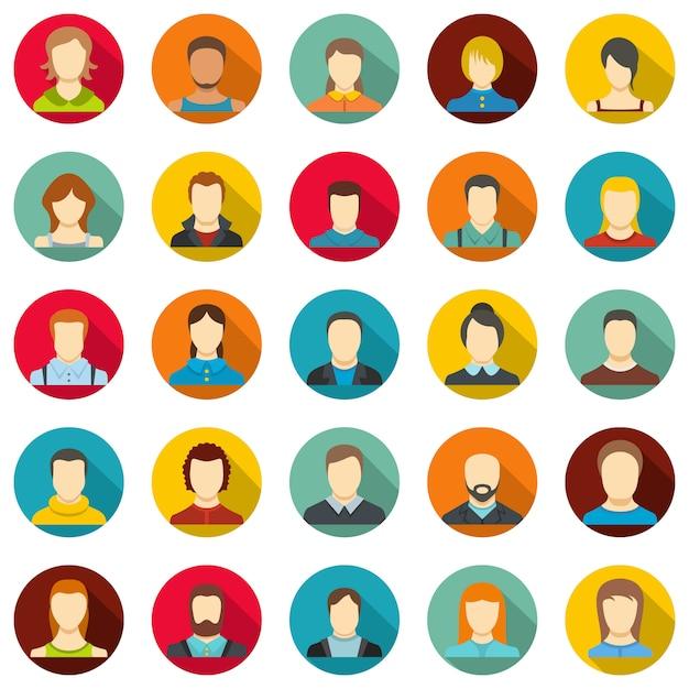 Avatar-benutzer-icon-set, flachen stil Premium Vektoren