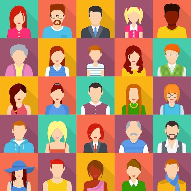 Avatar-benutzerikonen eingestellt. flache illustration von 25 avatar-benutzerikonen für web Premium Vektoren