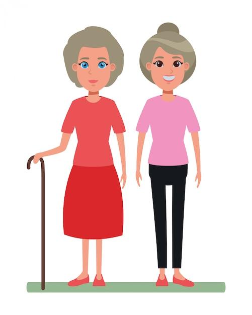 Avatar-cartoon-figur für ältere menschen Premium Vektoren