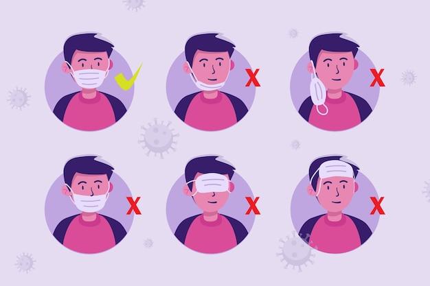 Avatar des mannes, der maske auf richtige und falsche weise trägt Premium Vektoren