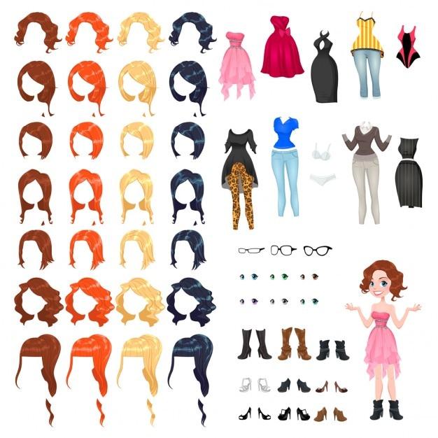 Avatar einer frau vektor isolierte objekte 7 frisuren mit 4 farben jeweils ein 10 verschiedene kleider 3 gläser 6 augen farben 9 schuhe Kostenlosen Vektoren