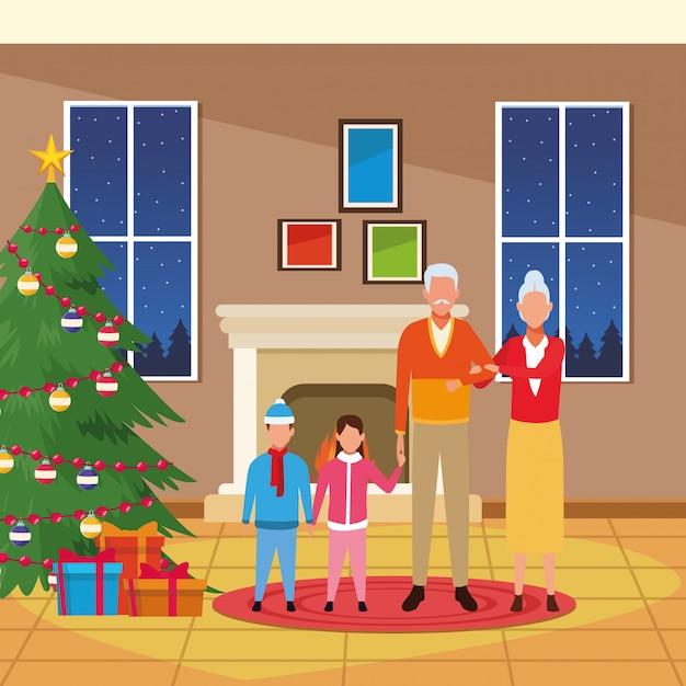 Avatar-großeltern und enkelkinder um weihnachtsbaum Premium Vektoren