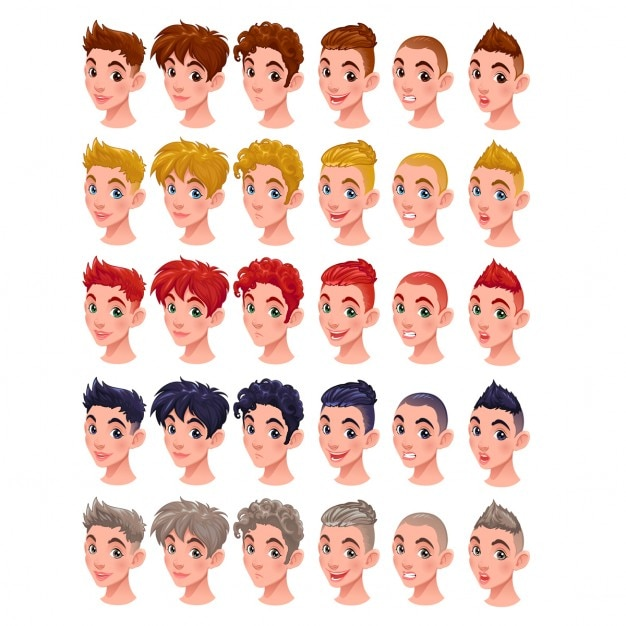 Avatar Jungen Vektor Artikel 6 Frisuren In 5 Farben 6 Verschiedenen