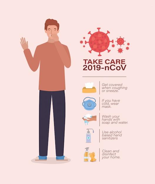 Avatar mann kümmern sich um 2019 ncov virus design Premium Vektoren