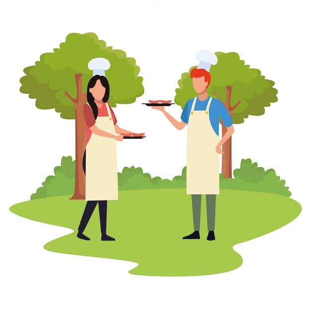 Avatar mann und frau mit essen Premium Vektoren