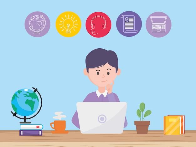 Avatar mann und online lernen Premium Vektoren