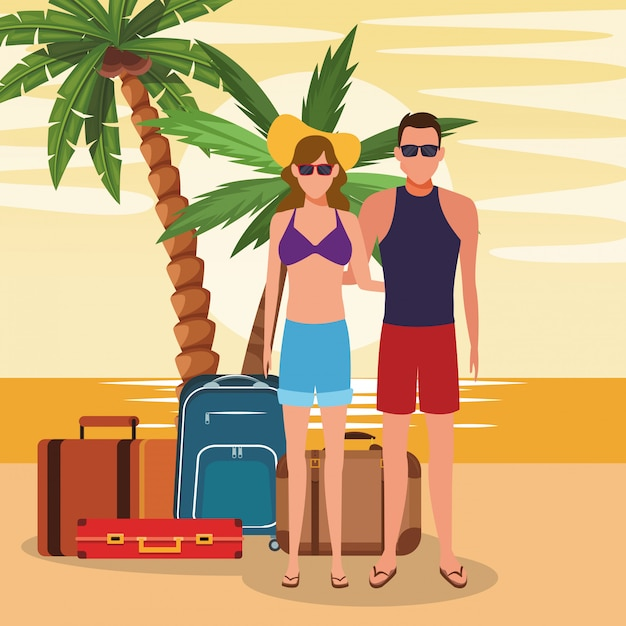 Avatarapaar mit koffern am strand Premium Vektoren