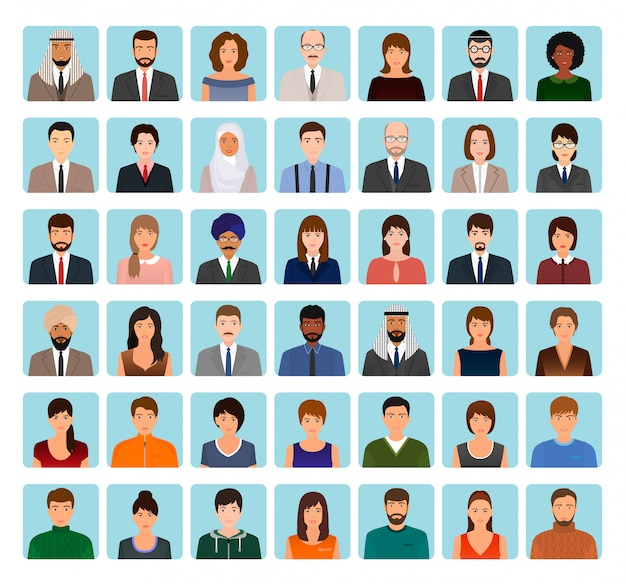 Avatare zeichensatz von verschiedenen personen. business, elegant und sport symbole von gesichtern zu ihrem profil. Premium Vektoren