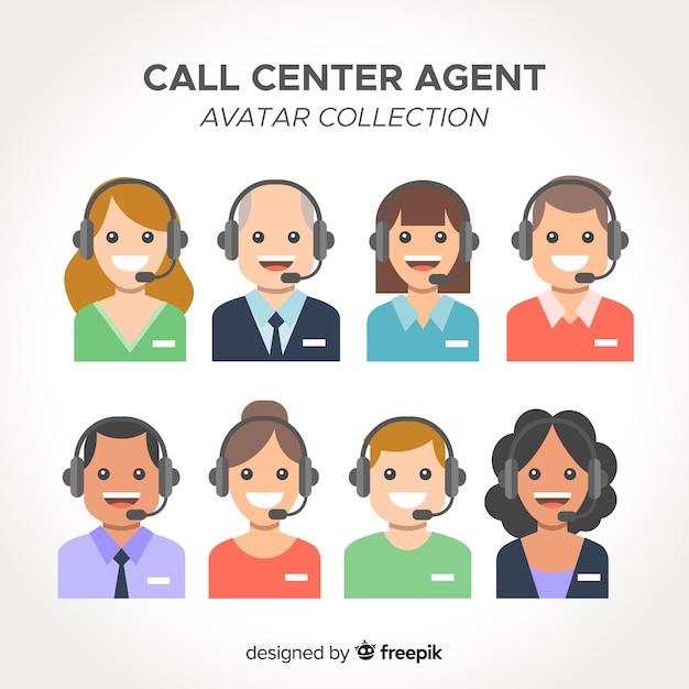 Avatarsammlung des call-center-agenten mit flachem design Kostenlosen Vektoren