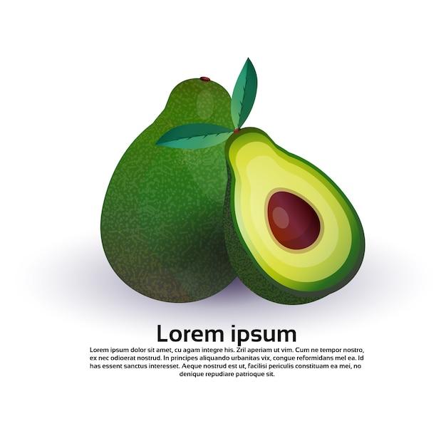 Avocado auf weißem hintergrund, gesundem lebensstil oder diätkonzept, logo für frische früchte Premium Vektoren