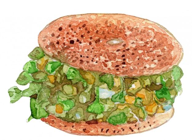 Avocado-bagel-aquarell-illustration Premium Vektoren