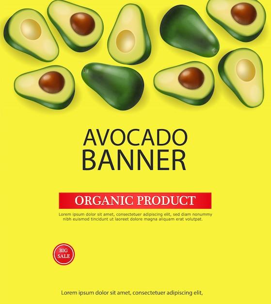 Avocado-banner-vorlage Premium Vektoren