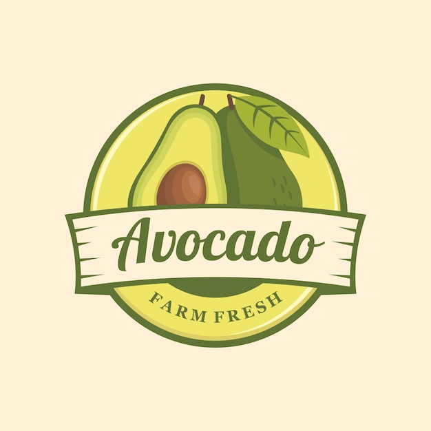 Avocado-logo-emblem Premium Vektoren