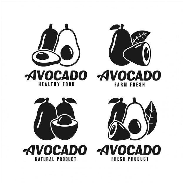 Avocado naturprodukt design logo kollektion Premium Vektoren