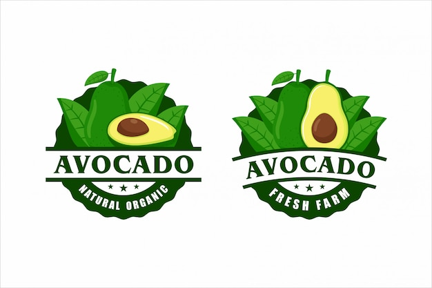 Avocado naturprodukt label design kollektion Premium Vektoren
