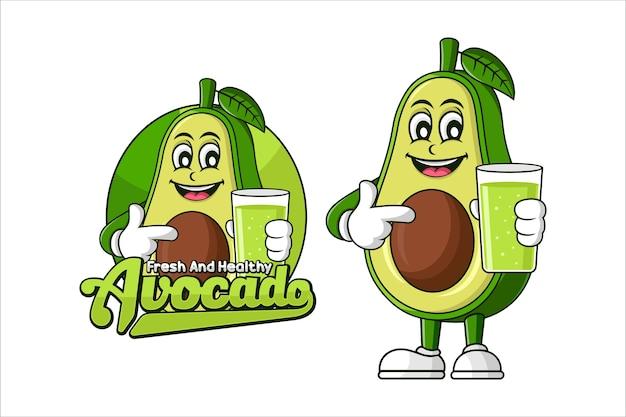 Avocadosaft gesundes lebensmittelvektorentwurf Premium Vektoren