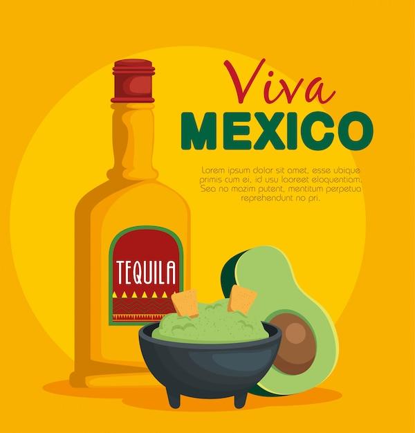 Avocadosoße mit traditionellem mexikanischem lebensmittel des tequila Kostenlosen Vektoren