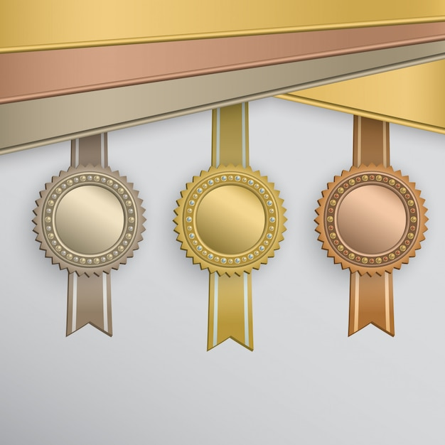Award-abzeichen festgelegt Premium Vektoren