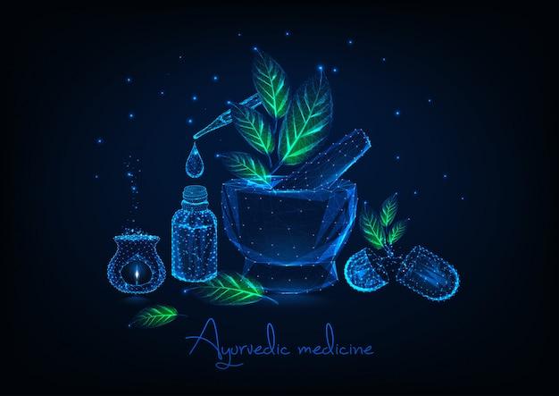 Ayurvedisches medizinkonzept mit mörtel, blättern, ätherischem öl, kräuterpillen und aromalamp. Premium Vektoren