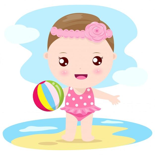 Baby am strand Premium Vektoren