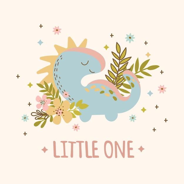 Baby dino handgezeichnete flache design grunge-stil geburtstag cartoon prähistorische tier kid bekleidung vektor-illustration für druck Premium Vektoren