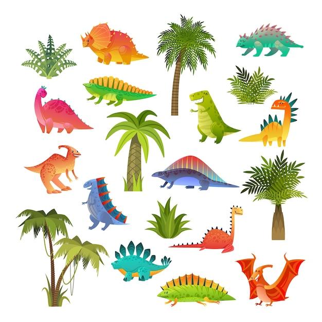 Baby dinosaurier gesetzt. Premium Vektoren