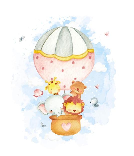 Baby-dschungeltiere im aquarellstil im luftballon Premium Vektoren