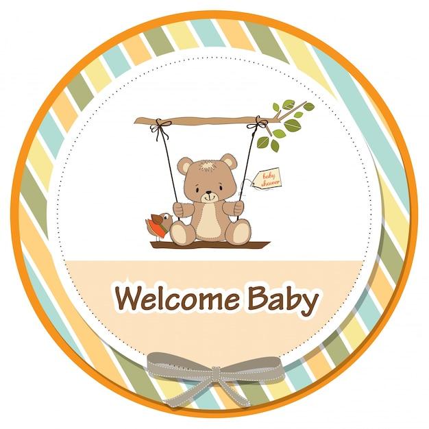 Baby-dusch-karte mit teddybär in einer schaukel Kostenlosen Vektoren
