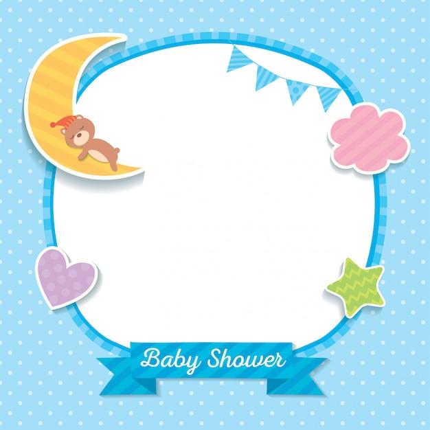 Baby-dusche-blau-vorlage Premium Vektoren