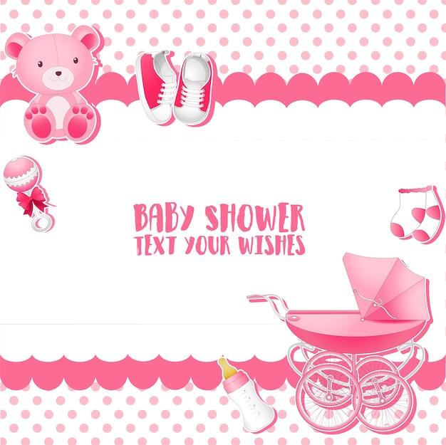 Baby-dusche einladung kartenvorlage Premium Vektoren