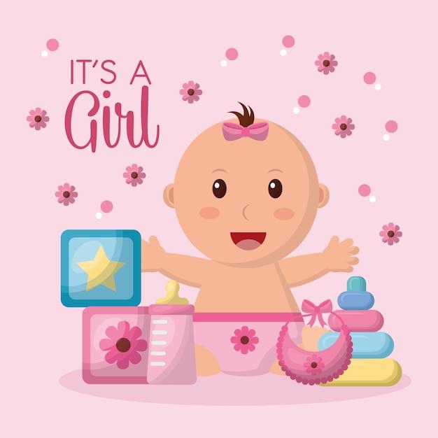Baby-dusche-feier rosa blumen hintergrund mädchen offenen armen lächelnd würfel spielzeug lätzchen Premium Vektoren