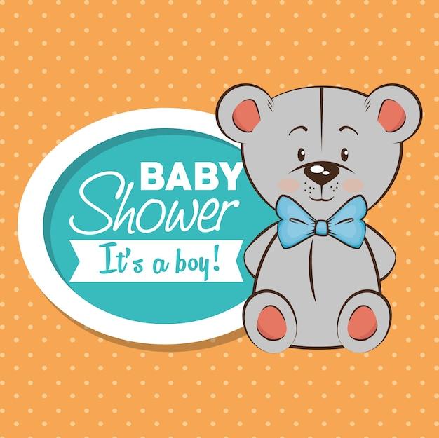 Baby-dusche junge einladungskarte Premium Vektoren
