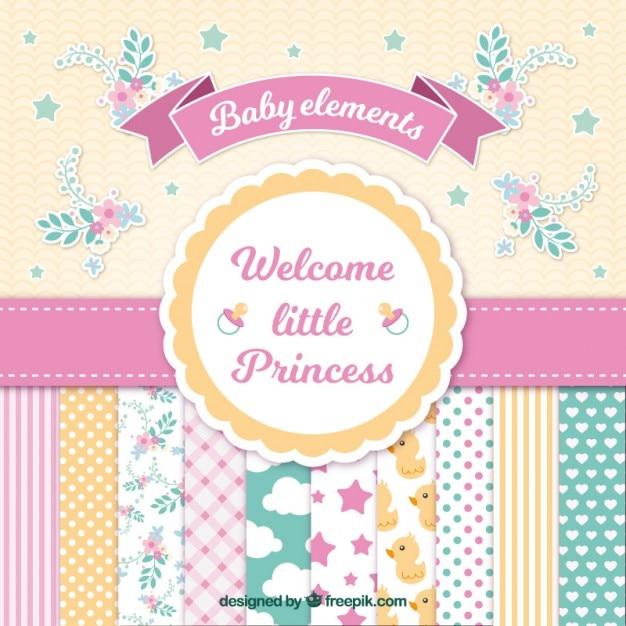 Baby-dusche-karte für mädchen Kostenlosen Vektoren