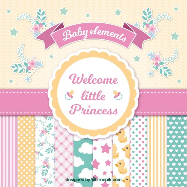 Baby-Dusche-Karte für Mädchen Kostenlose Vektoren