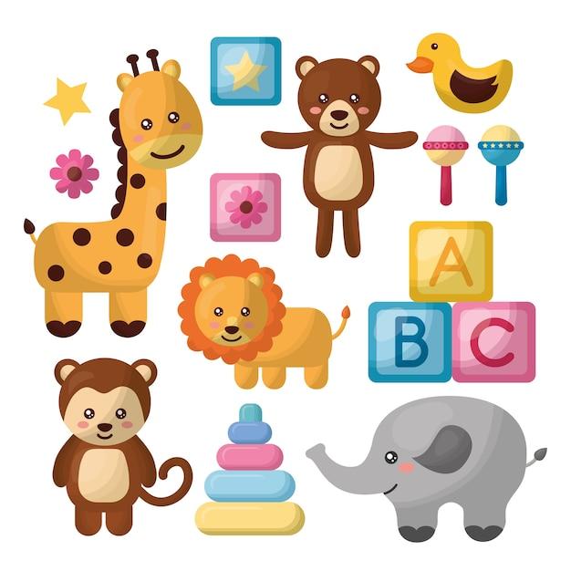 Baby dusche karte giraffe elefant affe löwe niedliche tiere spielzeug würfel Premium Vektoren