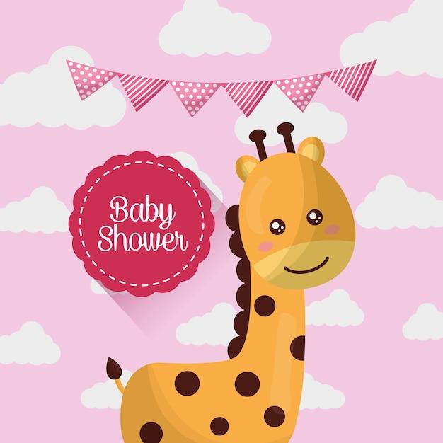Baby dusche karte lächelnd niedlich giraffe rosa wolken wimpel mädchen geboren Premium Vektoren