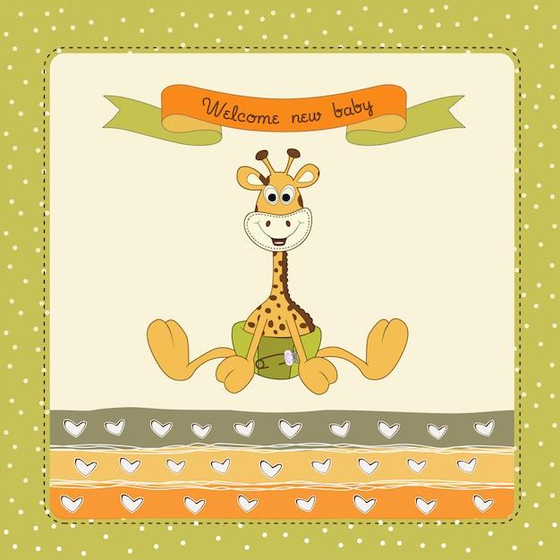 Baby-dusche-karte mit baby giraffe Premium Vektoren