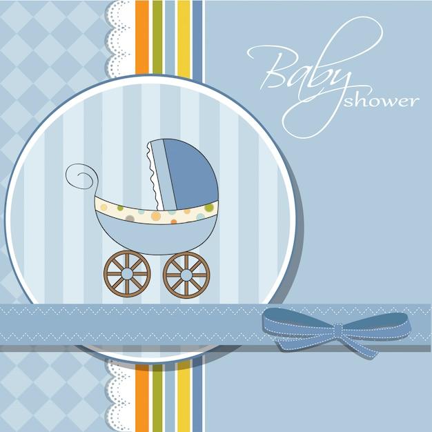 Baby-dusche-karte mit kinderwagen Premium Vektoren