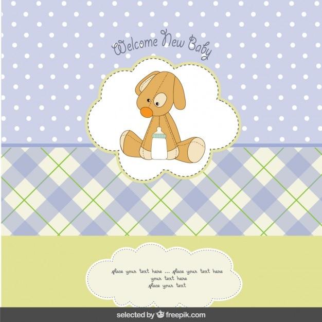 Baby-dusche-karte mit teddy hund Kostenlosen Vektoren