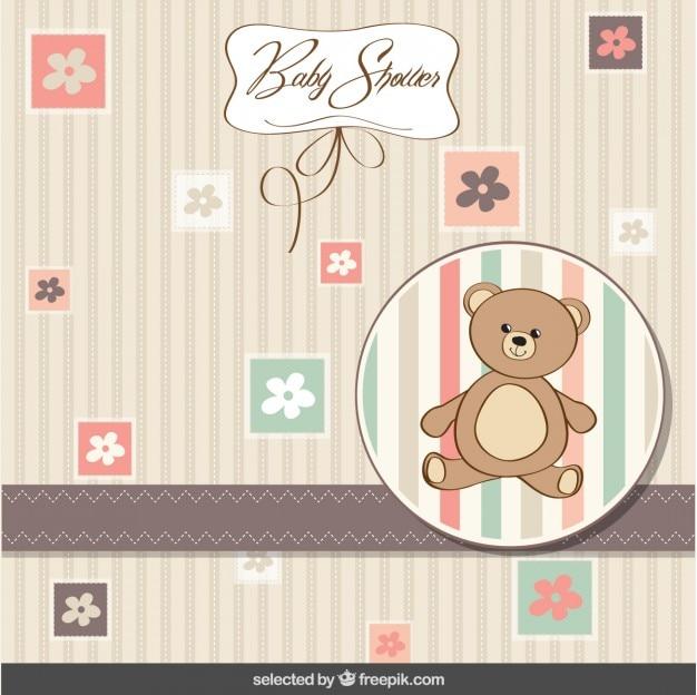 Baby-dusche-karte mit teddybär und blumen Kostenlosen Vektoren