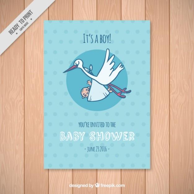 Baby Dusche Karte Vorlage Mit Einem Storch Download Der