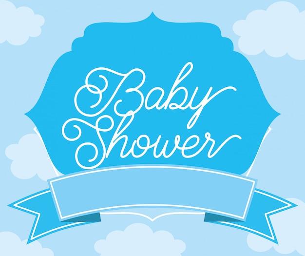 Baby-dusche-karte Premium Vektoren