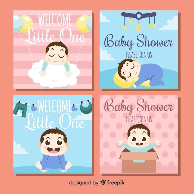 Baby-dusche-karten-pack Kostenlosen Vektoren