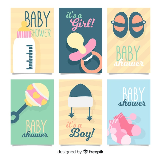Baby-dusche karten sammlung baby-elemente Kostenlosen Vektoren