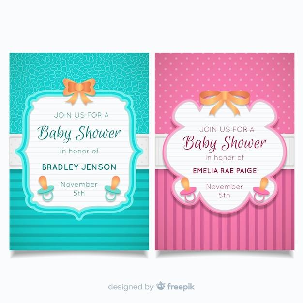 Baby-dusche-karten-sammlung Kostenlosen Vektoren