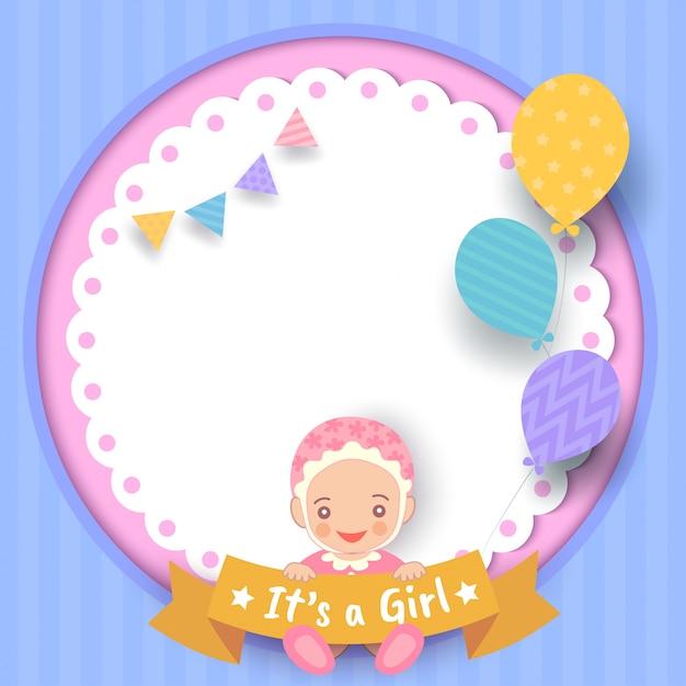 Baby-dusche-mädchen Premium Vektoren