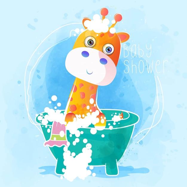 Baby dusche niedliche baby giraffe Premium Vektoren